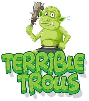 Logo di troll terribile su sfondo bianco
