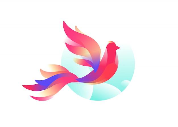 Logo di un uccello. un uccello favoloso.