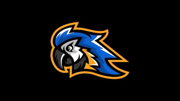 Logo di vettore della mascotte di logo della testa del pappagallo del macaw dell'uccello