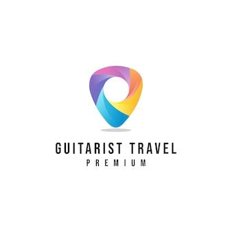 Logo di viaggio del chitarrista