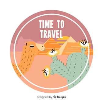 Logo di viaggio vintage piatto