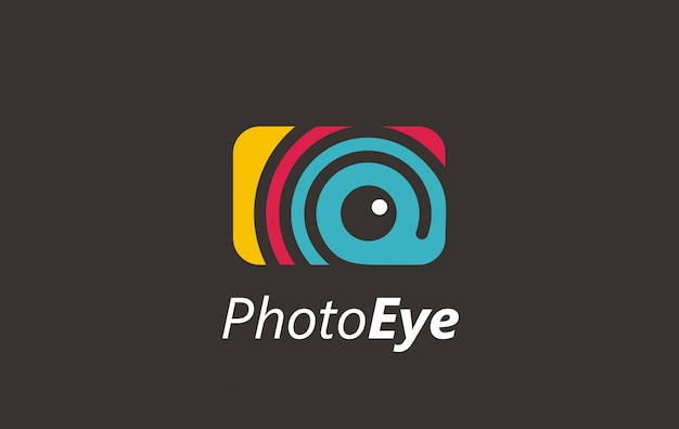 Logo digitale a colori dell'occhio della foto.