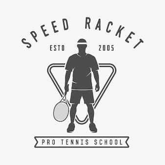 Logo, distintivo, emblema del tennis vintage.