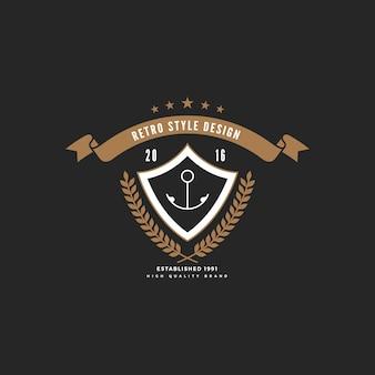 Logo distintivo vintage con cornice scudo a nastro.