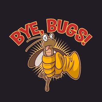 Logo divertente della mascotte del carattere del terminatore dei parassiti del fumetto
