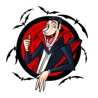 Logo divertente della mascotte del personaggio di dracula del fumetto