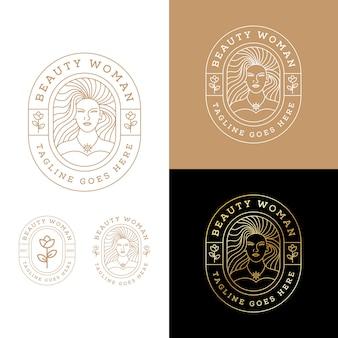 Logo donna elegante linea arte buauty. modello di progettazione di logo di lusso ragazza rosa