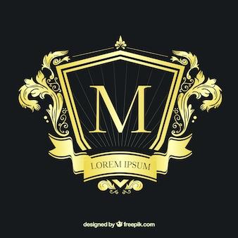 Logo dorato in stile vintage e di lusso