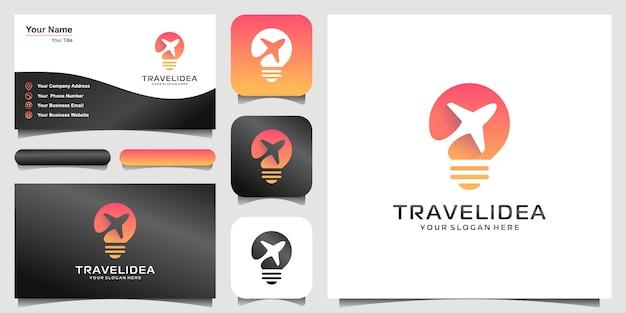 Logo e biglietto da visita dell'illustrazione di concetto di forma della lampadina dell'aeroplano, logo della società dell'aeroplano, logo di viaggio.