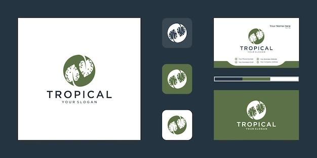 Logo e biglietto da visita di foglie verdi tropicali