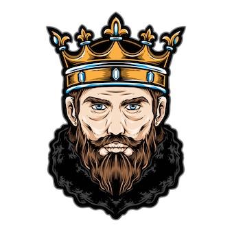 Logo e icona di vettore della testa di re