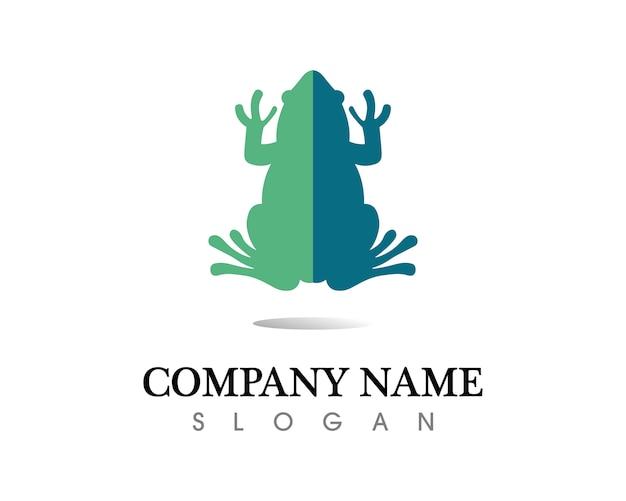 Logo e modello di simboli della rana verde