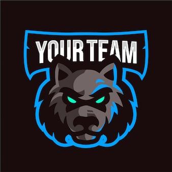 Logo e-sport con testa di lupo scuro