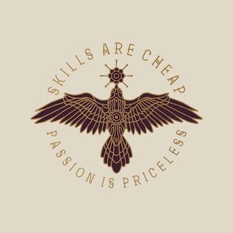 Logo elegante dell'illustrazione degli uccelli della mandala