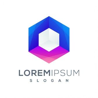 Logo esagonale colorato pronto per l'uso