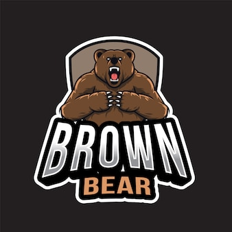 Logo esport dell'orso bruno