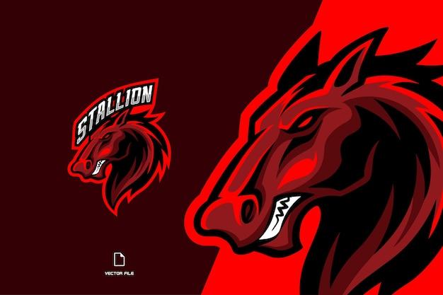 Logo esport della mascotte del cavallo rosso per l'illustrazione del modello della squadra di gioco