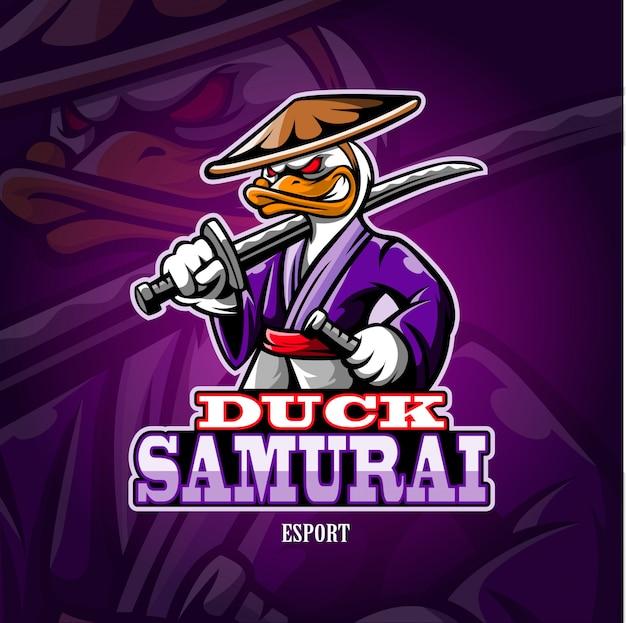 Logo esport di anatra samurai mascotte.