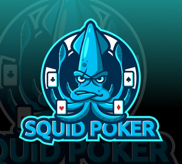 Logo esport di calamari mascotte poker