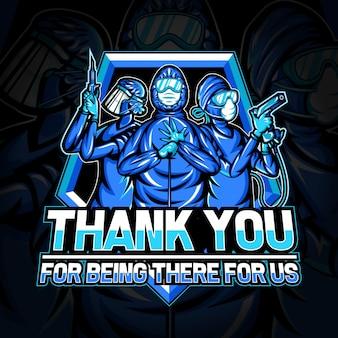 Logo esport di ringraziamento per il team medico per la lotta contro coronavirus