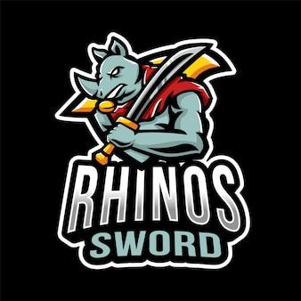 Logo esport di spada di rinoceronti