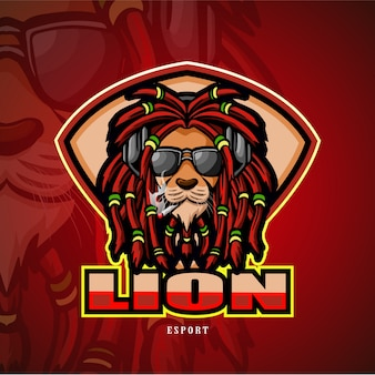 Logo esport leone mascotte testa di leone.