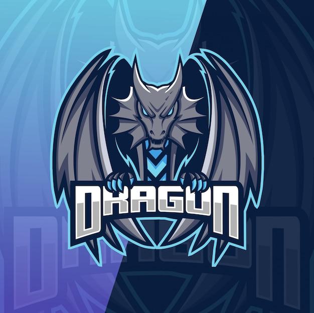 Logo esport mascotte drago