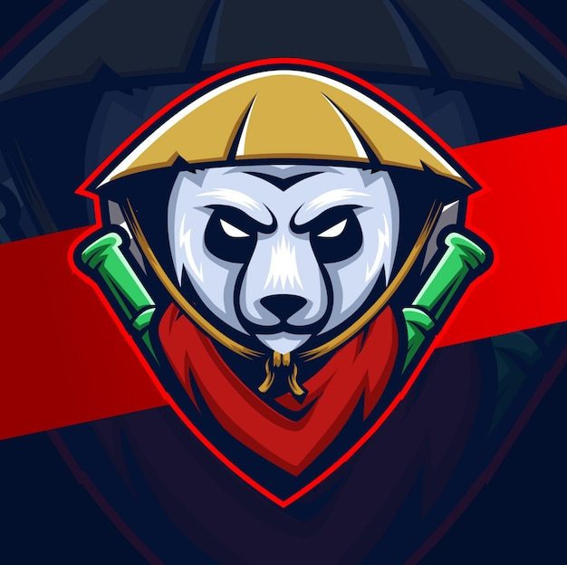 Logo esport panda warrior mascotte