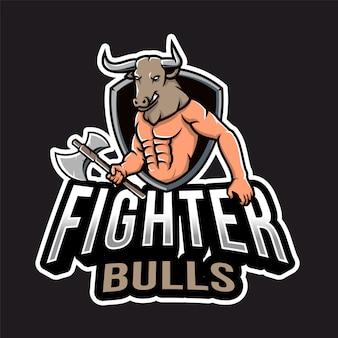 Logo esport testa di toro da caccia