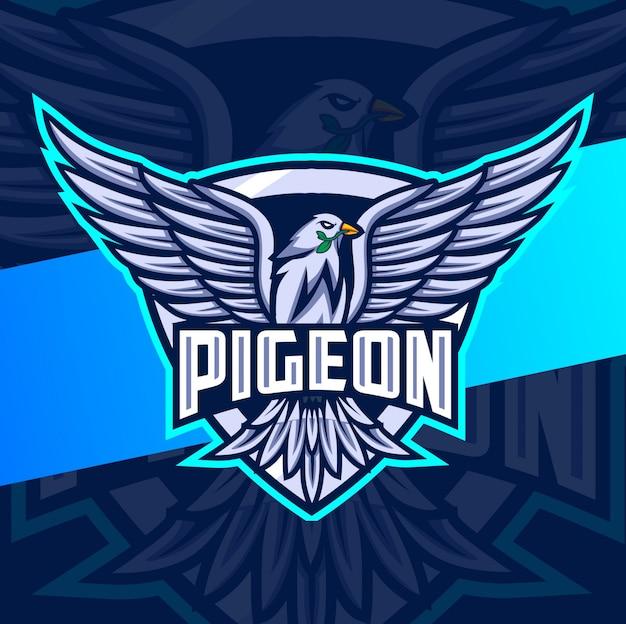 Logo esportatore di mascotte di piccione volante