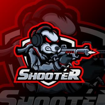 Logo esportatore di mascotte sparatutto panda