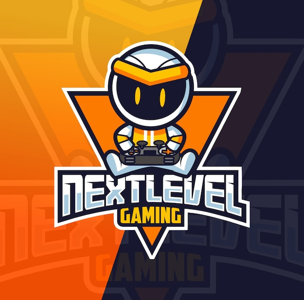 Logo esportatore di robot gamer mascotte