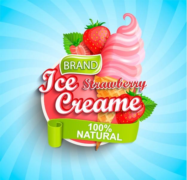 Logo, etichetta o emblema del gelato alla fragola.