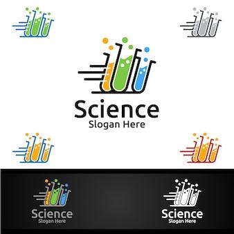 Logo fast science and research lab per microbiologia, biotecnologia, chimica o concetto di progetto di istruzione