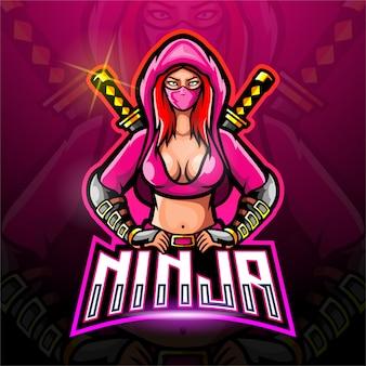 Logo femminile ninja esport per logo di gioco sportivo elettronico.