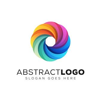 Logo fiore colorato cerchio astratto, logo aziendale