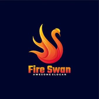 Logo fire swan gradient style.