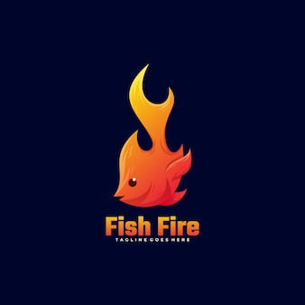 Logo fish fire gradient style.