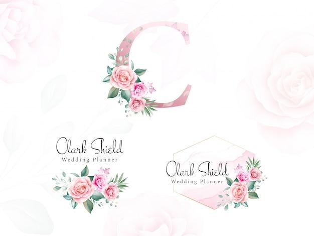 Logo floreale dell'acquerello impostato per iniziale c di rose e foglie di pesca.