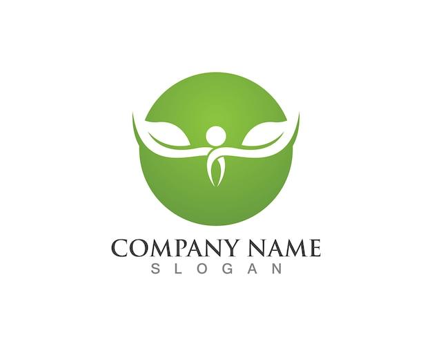 Logo foglia albero, concetto ecologico