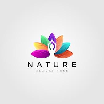 Logo foglia colorata con silhouette yoga