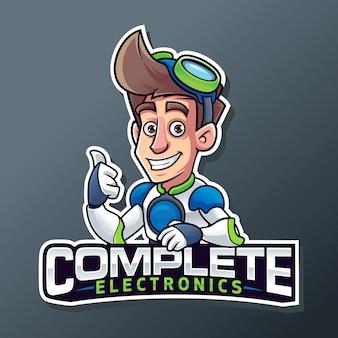 Logo futuro della mascotte di servizio elettronico del computer