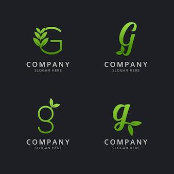 Logo g iniziale con elementi foglia in colore verde