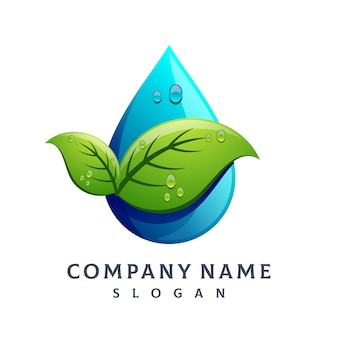 Logo goccia d'acqua foglia