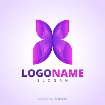 Logo gradiente social media con farfalla