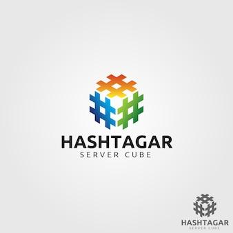 Logo hashtag cube
