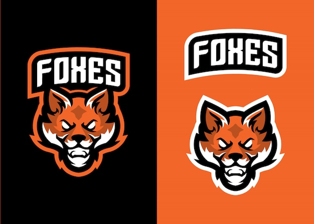 Logo head fox mascot per logo sport e esports