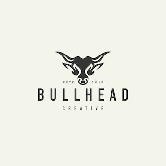 Logo hipster testa di bufalo