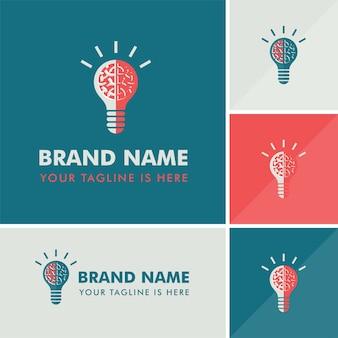 Logo idea creativa della lampadina del cervello