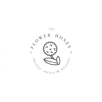 Logo illustartion e modello o badge. etichetta bio ed eco miele - fiore per miele. stile lineare.